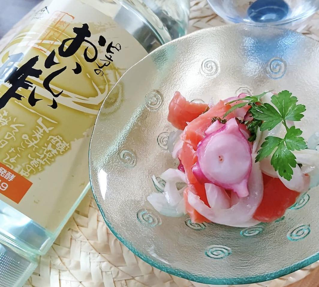 (レシピ)タコとスモークサーモンの簡単マリネ